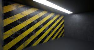 Lege Zaal met Één Licht en Gevaar Gestreepte Grunge Rusty Wall Stock Fotografie
