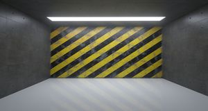 Lege Zaal met Één Licht en Gevaar Gestreepte Grunge Rusty Wall Royalty-vrije Stock Afbeelding