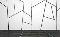Lege Zaal met Geometrisch Patroon op Muur Royalty-vrije Stock Afbeeldingen