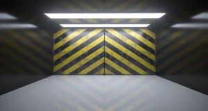 Lege Zaal met Twee Lichten en Gevaar Gestreepte Grunge Rusty Wall Royalty-vrije Stock Afbeelding