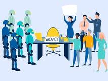 Lege zetel Strijd voor het werk tussen robots en mensen In minimalistische stijl Beeldverhaal vlakke vector stock illustratie