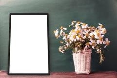 lege zwarte kaders op oude groene muur met kamillebloem in bedelaars Stock Fotografie