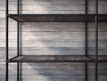 Lege zwarte metaalplanken het 3d teruggeven Stock Foto's