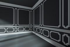 Lege zwarte ruimtehoek met wit klassiek stijldecor op muren Royalty-vrije Stock Fotografie