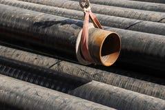 Legen der Erdgasleitung Stockfotografie