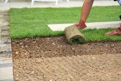 Legen der Grasscholle für neuen Rasen Stockfotos