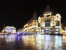 Legen Sie de la Comédie in Montpellier nachts Lizenzfreies Stockfoto