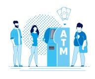 Legen Sie nieder oder treten Sie von persönliches Konto-ATM zurück vektor abbildung