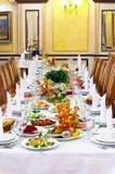 Legen Sie Set für eine Ereignisparty oder -Hochzeitsempfang ver Lizenzfreies Stockfoto