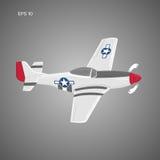 Legendäres WWII-Amerikanerkampfflugzeug Einkolbenmaschinenkriegsmaschine-Vektorillustration Stockfotos