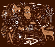 The Legend of Bigfoot. Indian tracker on the trail of a monster Royalty Free Stock Photography