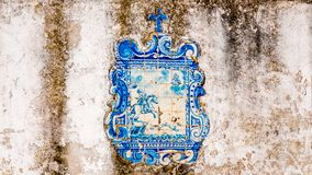 Legend in a blue tile. Representation of the legend of Dom Fuas Roupinho and Our Lady of Nazare in tile stock images