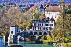 Legend Bridge seen from Sauveterre-de-Bearn medieval village Royalty Free Stock Image
