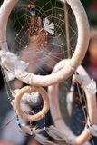The legend of the dram catcher. Using a hoop of willow, traditionally, and decorating it with findings, bits and pieces of everyday life, it is believed to have Royalty Free Stock Photo