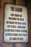 The Legend of Groundhogs Day explained at Punxsutawney Phil`s Bu. Punxsutawney, Pennsylvania, USA - June 30, 2018 : Sign explaining the Legend at Punxsutawney royalty free stock photography