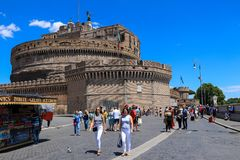People in front of Castel Sant`Angelo, Rome, Italy royalty free stock photography