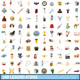 100 legend icons set, cartoon style. 100 legend icons set in cartoon style for any design vector illustration Royalty Free Illustration