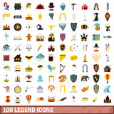 100 legend icons set, flat style. 100 legend icons set in flat style for any design vector illustration Royalty Free Stock Image