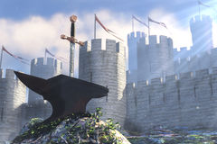 The Legend about king Arthur. 3D illustration of legend about sword in stone Royalty Free Stock Images