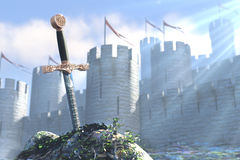 The Legend about king Arthur and sword in a stone. 3D illustration of legend about sword in a stone Stock Image