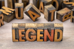 Legend word in letterpress wood type Royalty Free Stock Photo