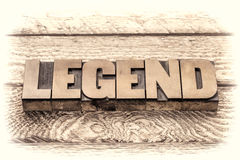Legend word in vintage letterpress wood type. Sepia toning royalty free stock image