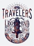 Legenda clássica dos cavaleiros da motocicleta dos viajantes Imagens de Stock Royalty Free