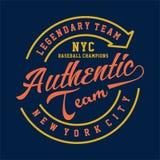 LEGENDARISCH AUTHENTIEK TEAM NYC vector illustratie