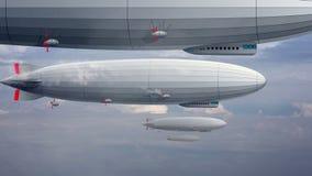 Legendarisk enorm zeppelinareluftskepp på himmel med moln Stiliserad flygballong stock illustrationer