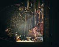 Legendarisk thailändsk spöke Mae Nak Phra Khanong, thailändsk traditionell enhetlig klänning arkivbilder