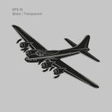 Legendarisk tung bombplan för tappningvärldskrig 2 Gammalt retro framdrivit tungt flygplan för pistongmotor också vektor för core Arkivfoton