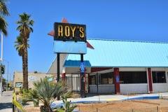 Legendariskt kafé för Roy ` s på den historiska huvudvägen Route 66 arkivfoto