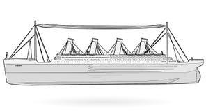 Legendariskt kolossalt fartyg för stort fartyg, monumentalt stort skeppsymbol för svartvit tråd Royaltyfri Fotografi