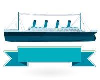 Legendariskt kolossalt fartyg, monumentalt stort skeppsymbol Stort blått fartyg Fotografering för Bildbyråer