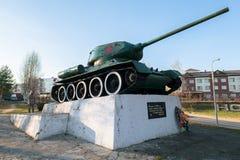 Legendarny Radziecki zbiornik T34 Zabytek w miasteczku Zubtsov Tver region Zdjęcie Royalty Free