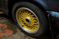 Legendary alloy net sport rims on beautiful wheels royalty free stock photography