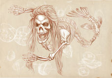 Legendary animals and monsters: MERMAID. Illustration of a series of legendary animals and monsters (skeleton): MERMAID. An hand drawn and painted full sized Stock Photography