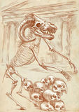 Legendary animals and monsters: MINOTAUR. Illustration of a series of legendary animals and monsters (skeleton): MINOTAUR. An hand drawn and painted full sized Royalty Free Stock Photography