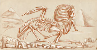 Legendary animals and monsters: SPHINX. Illustration of a series of legendary animals and monsters (skeleton): SPHINX. An hand drawn and painted full sized Royalty Free Stock Photos