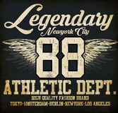 Legendary Athletic Dept. Nyc Varsity Sport vector print and vars Royalty Free Stock Photo