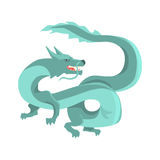 Legendary blue chinese dragon, mythical and fantastic animal vector Illustration Stock Photography