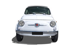 Legendary car. Front view of a white Italian small car isolated on white Royalty Free Stock Images