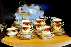 Legendary china porcelain tea set Country Roses in private colection. VILNIUS, LITHUANIA - FEBRUARY 3: Legendary china porcelain tea set Country Roses in private Royalty Free Stock Photo
