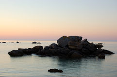 Legendary coast at sunset, bretagne, france. View of sunset typical of bretagne area in france near brignogan-plages royalty free stock images