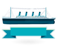 Legendary colossal boat, monumental big ship symbol. Big blue boat. Stock Image