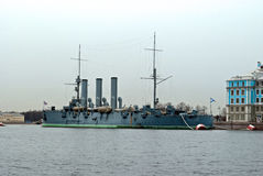The legendary cruiser Aurora. Royalty Free Stock Photo