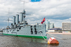 Legendary cruiser Aurora. Sunny Day, St. Petersburg. Stock Image