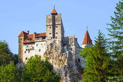 Legendary Dracula`s Castle of Bran. Mysterious place in Transylvania: Dracula`s Land, Bran Castle. It was build in 14th century by  Saxons of Kronstadt Royalty Free Stock Photos
