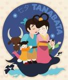 Legendary Family Reunion Celebrating Tanabata Festival, Vector Illustration Stock Images