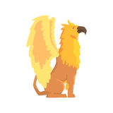Legendary griffin monster, mythical and fantastic animal vector Illustration Stock Photography